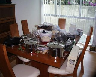 The mess in the dining room after the move
